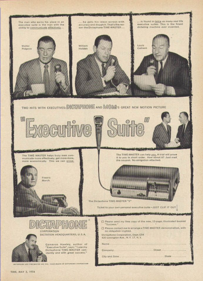 0 William Holden & walter pidgeon & frecrich march for Dictaphone Executive Suite ad 1954