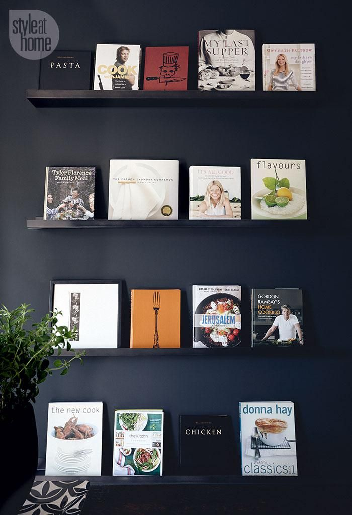 Beautiful cookbook display using picture ledges {PHOTO: Mark Burstyn}