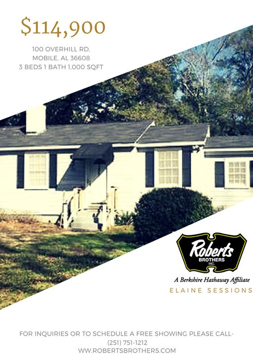 This ready to move in home is #perfect for the first #home buyer!  Give us a call to schedule your #free showing in person! (251) 751-1212 #ElaineSessions #RobertsBrothers #MobileAL #RealEstate - http://ift.tt/1HQJd81