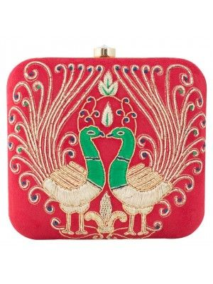 Red Peacock Clutch