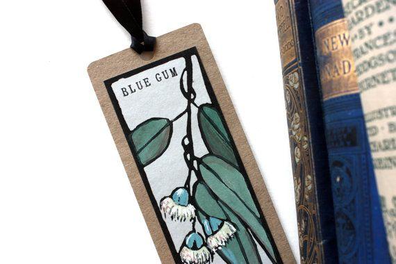 Handpainted Linoprint Bookmark - Blue Gum - Australian Native Flower on Etsy, $9.00 AUD