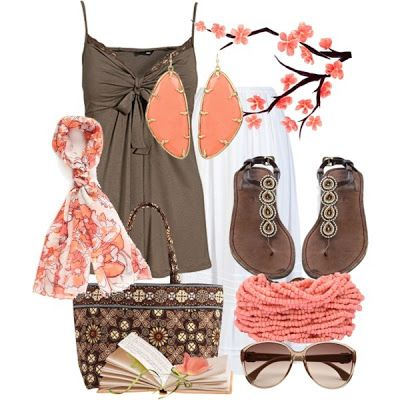 Brown and melon.  Love whole outfit esp the top, purse and shoes.