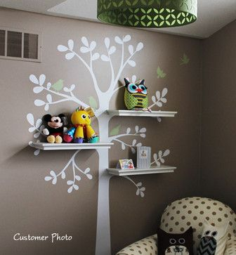 """Shelving Tree Wall Decal, Color Scheme A, Small - 51""""w X 88""""h - transitional - Nursery Decor - Simple Shapes"""