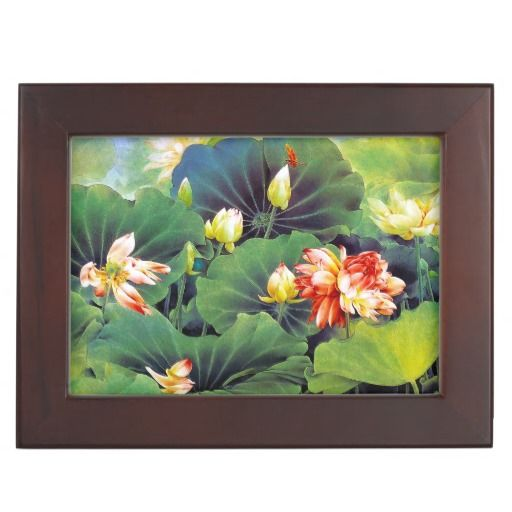 Cool beautiful chinese lotus flower green leaf art memory boxes