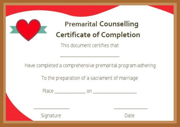 Free Premarital Counseling Certificate Of Completion
