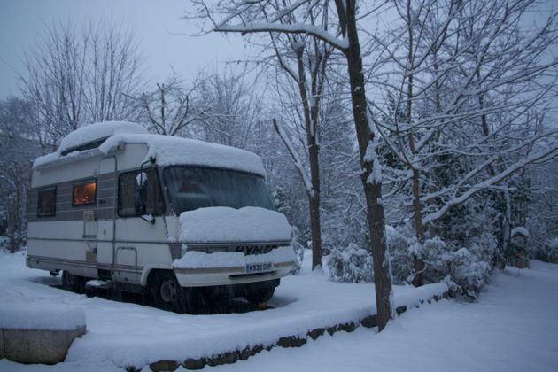 Technomadics Michael Tyson and Katherine Herriman are staying in the South of France in their RV. I love the tiny orange glow in the window.