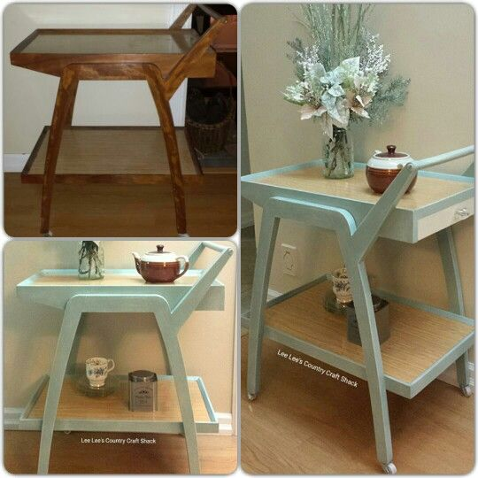 Vintage tea cart given an update with Duck Egg Blue Chalk style paint with Old White.