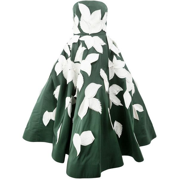 Oscar De La Renta Applique Leaf Gown 25 960 Liked On Polyvore Featuring Dresses Gowns Green White Ball Silk Dress Long White Long Gown Long Green Dress