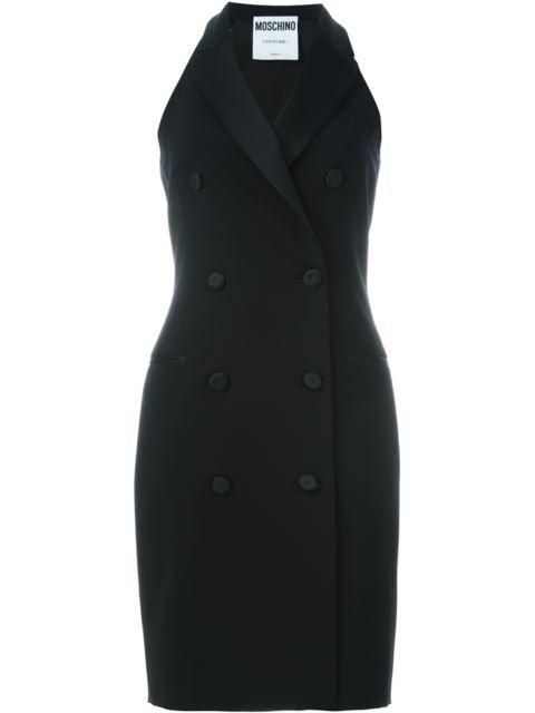 Shop Moschino sleeveless tuxedo dress in Bernardelli from the world's best…