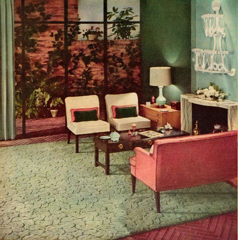 Mid Century Modern Pink And Green Living Room Retrorealtygroup
