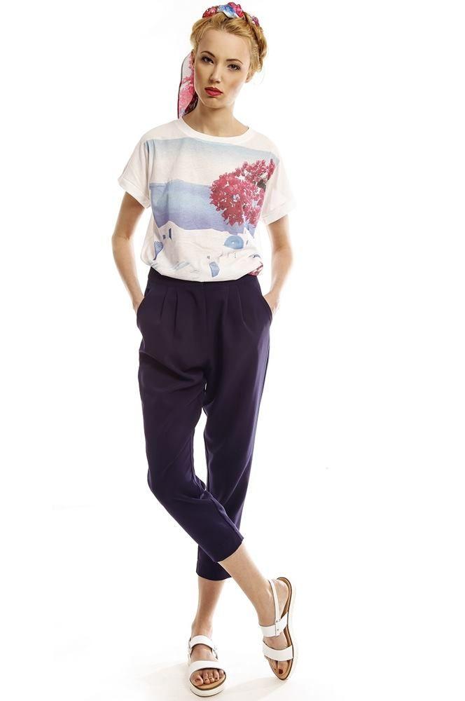 Marine Blue High-Waist Capri Pants