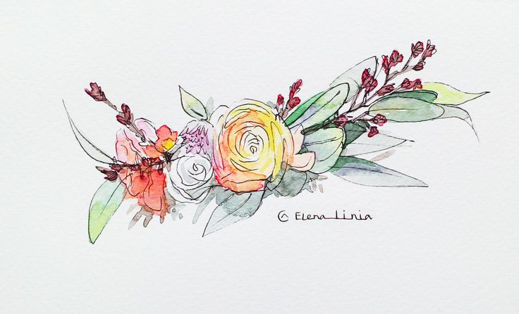 Illustration by Elena_linia. #illustration #flower #drawing #art #watercolor #sketch  #inspiration