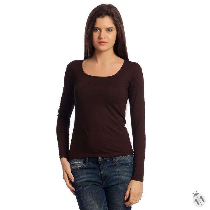kahverengi basic kadın tişört satın al
