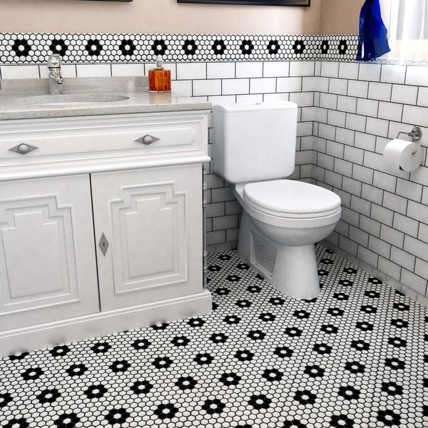 Somertile 10 25x11 75 Inch Victorian Hex Matte White Heavy Flower Porcelain Mosaic Floor