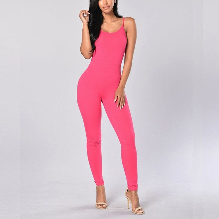 Women's Sexy Jumpsuits Newest Summer Ladies Casual Spaghetti Strap Slim Bodycon Solid Rompers Playsuits Feminino 7 Colors