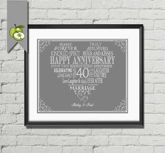 40th 50th 25th 30th Anniversary WEDDING Day Gift by TheArtyApples