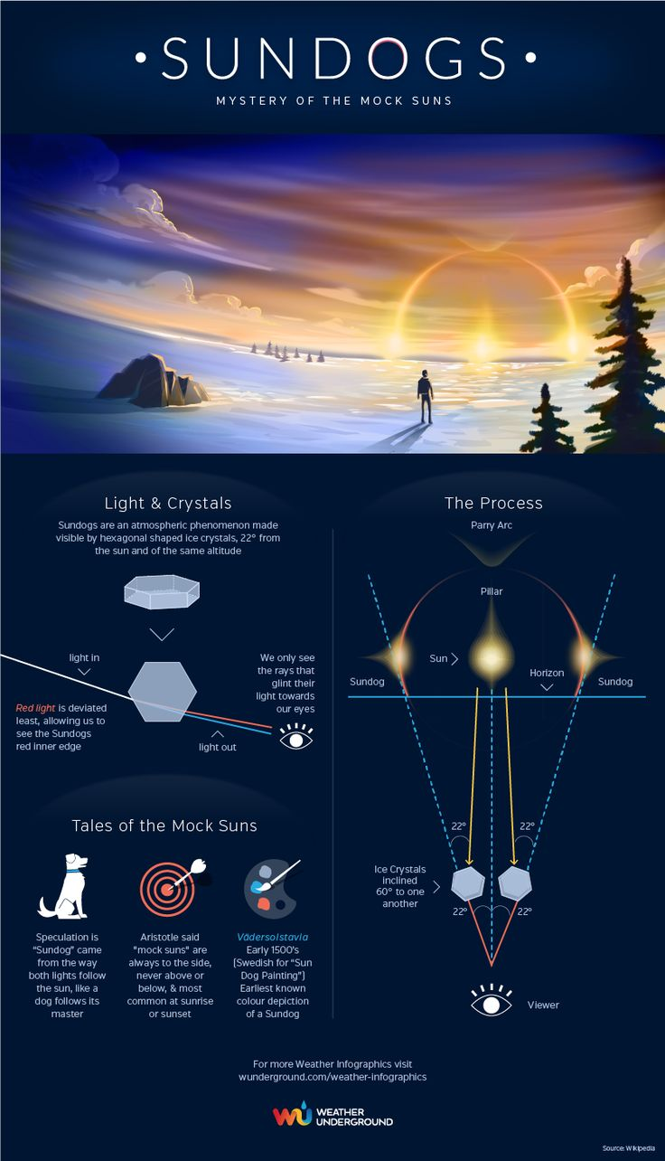 Sundogs. What are they? How do they form?   ⎜Infographic by Weather Underground⎜For more infographics, visit wunderground.com