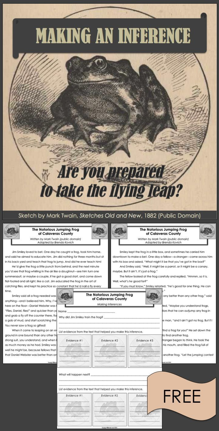"""Making an inference requires a flying leap! Challenge your students with Mark Twain's classic story, """"The Notorious Jumping Frog of Calaveras County."""" This freebie includes a two-page adaptation of the story (public domain), a one-page inference activity,"""