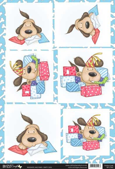 Buzzcraft Whiskers and Paws die cut toppers - Party Dog