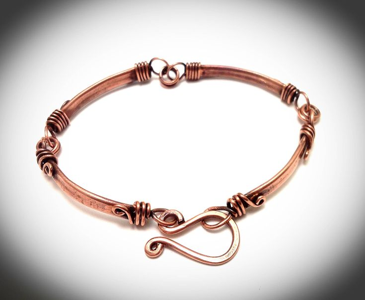Copper bracelet. Bangle bracelet.Wire jewelry. Wire wrapped jewelry. Copper panel bracelet. by JCLwire on Etsy