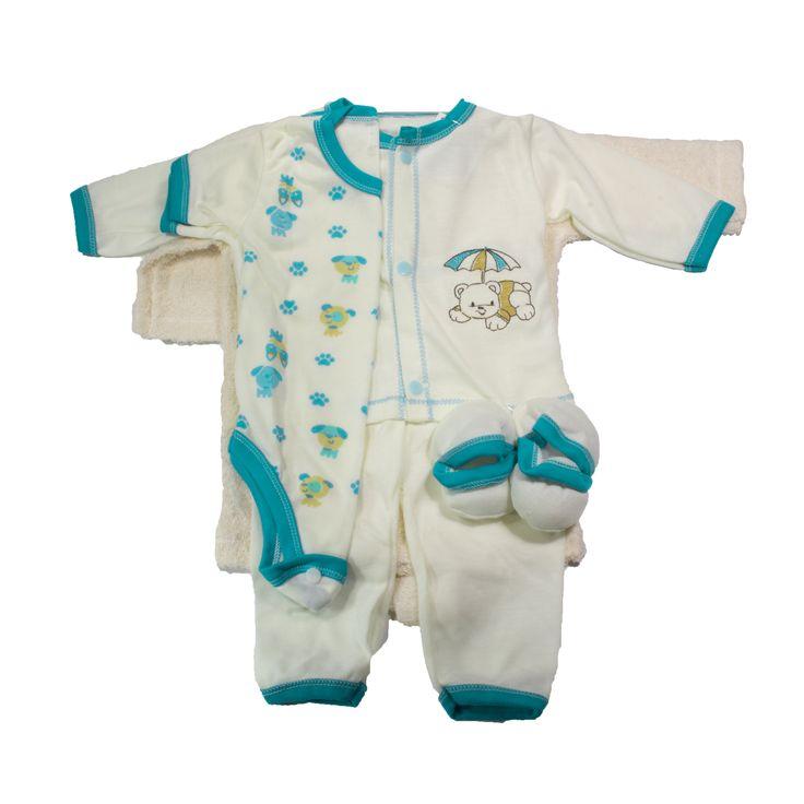Es un hermoso conjunto para el primer día que nace tu príncipe, que brinda confort, calidez, y suavidad. Viene con una bata de baño,  una camisa manga larga, un body manga corta, un pantalón, y unos patines, como se muestra en la imagen. https://nibi-baby-store.pswebstore.com/baby-boy/29-primer-dia-salida-de-bano-tul.html