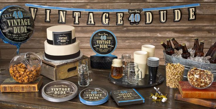 Vintage Dude Over the Hill 40th Party Supplies