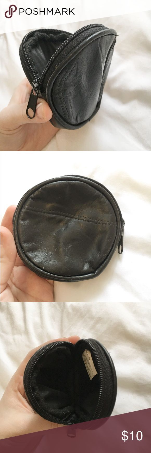 "Black Leather Cosmetic Bag // Black cosmetic bag or change purse. Small ""emergency"" pouch. So cute and dainty! 🌻 American Apparel Bags Cosmetic Bags & Cases"