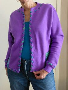 Upcycled Sweatshirt to Purple Cardigan