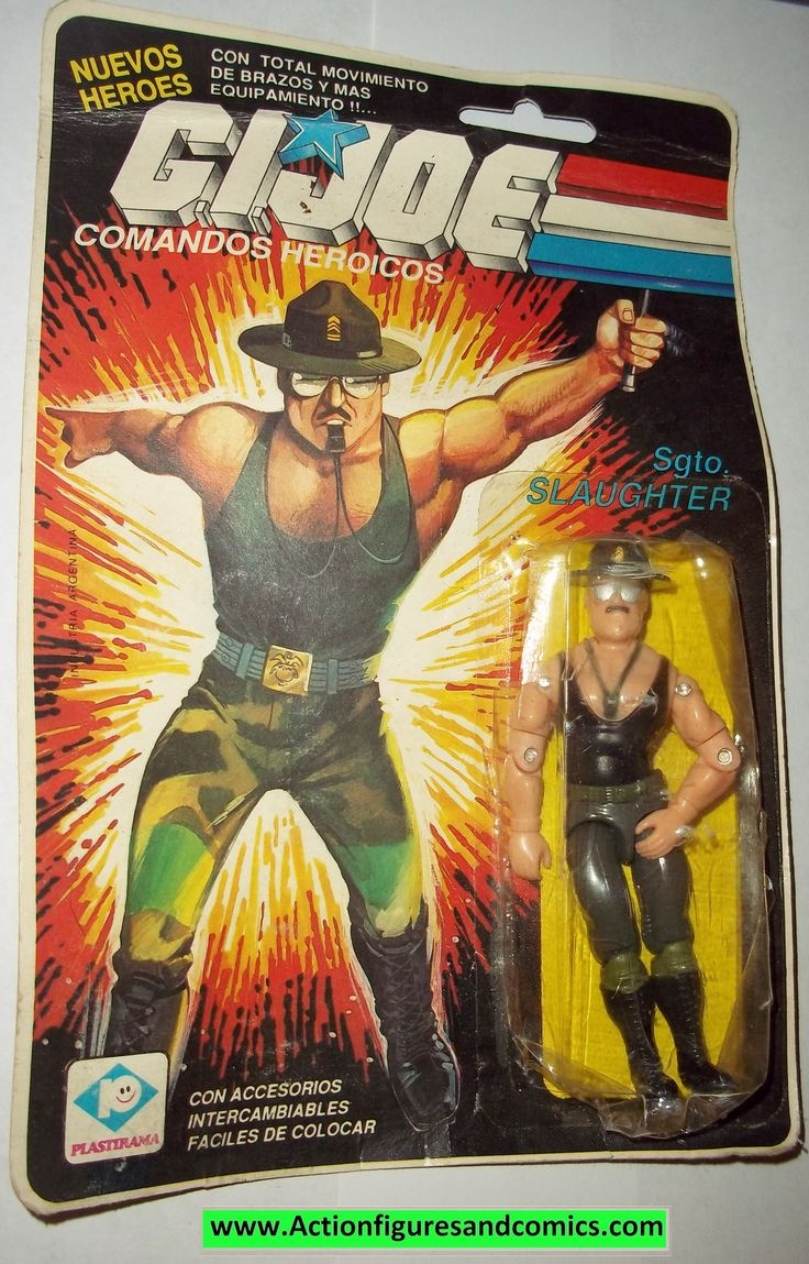 Hasbro G.I.JOE vintage action figures 1985 QUICK KICK & SGT SLAUGHTER condition: Both figures have never been removed from the package, however due to the lower quality material argentina used for the