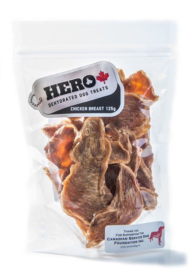 Chicken Breast - 125gr     12.49 HeroDogTreats™ Chicken Breast is Dehydrated Human Grade Chicken and Provides a Daily Worry Free Treat That is a 100% Natural Protein Packed Snack. Just Break Off a Piece and Watch Your HERO enjoy