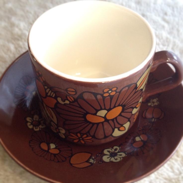 Crown Lynn, retro cup & saucer