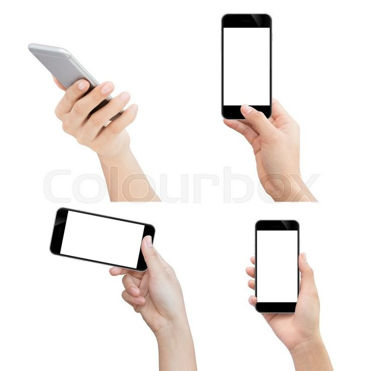 Editorial image of 'Hand holding phone isolated with clipping path on white…