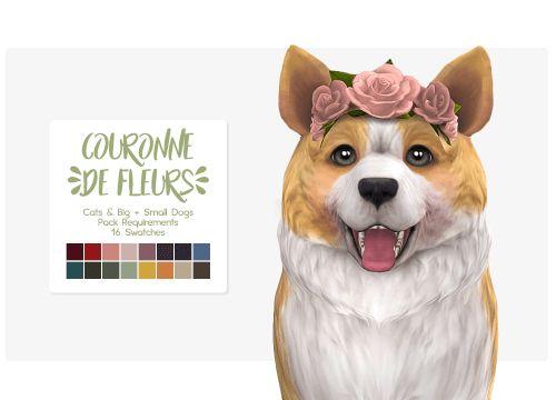 Couronne de Fleurs Pet Headband for The Sims 4