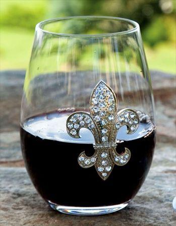 Rhinestone Fleur De Lis Stemless Wine Glass