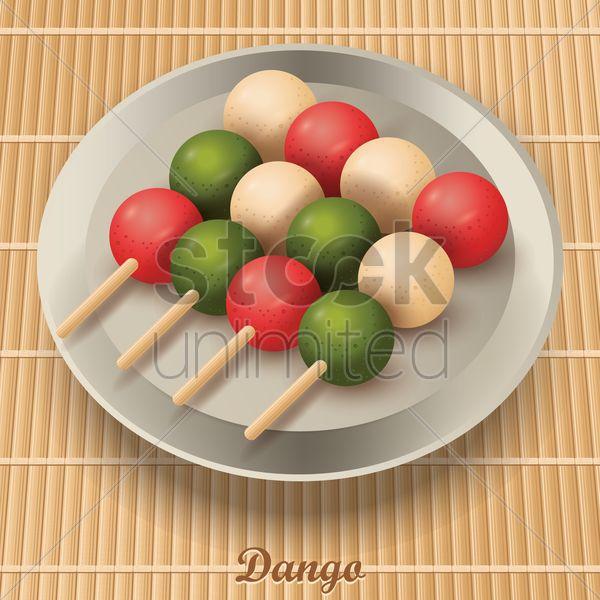 dango dumplings in plate Stock Vector