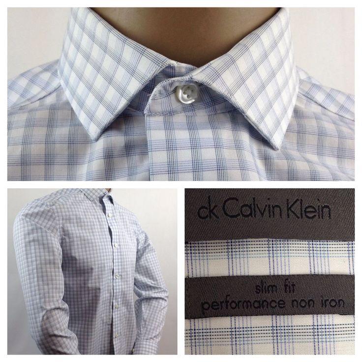 Calvin Klein Men's Slim Fit Non-Iron Dress Shirt Button Up Long Sleeve Size 15 #CalvinKlein #menswear #mensdressshirt