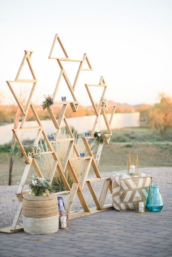 Geometric Backdrop|Modern Southwestern Wedding in Serenity & Rose Quartz