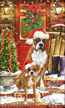 """Boxer Christmas Holiday cards are 8 1/2"""" x 5 1/2"""" and come in packages of 12 cards. One design per package. All designs include envelopes, your personal message, and choice of greeting. Select the greeting of your choice from the drop-down menu above. Add your personal message to the Comments box during checkout"""