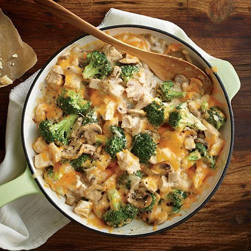 Mom's Creamy Chicken and Broccoli Casserole | Traditional creamy chicken casserole can have more than 800 calories per serving, but we're serving up this classic comfort dish with a fraction of the calories. | Cooking Light