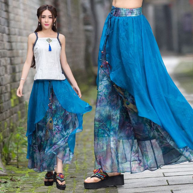 Vintage 70 s ethnique long deux couches asmmetrical imprimer jambe large pantalon 2016 femmes d'été Mexique style ethnique impression pantalon capris