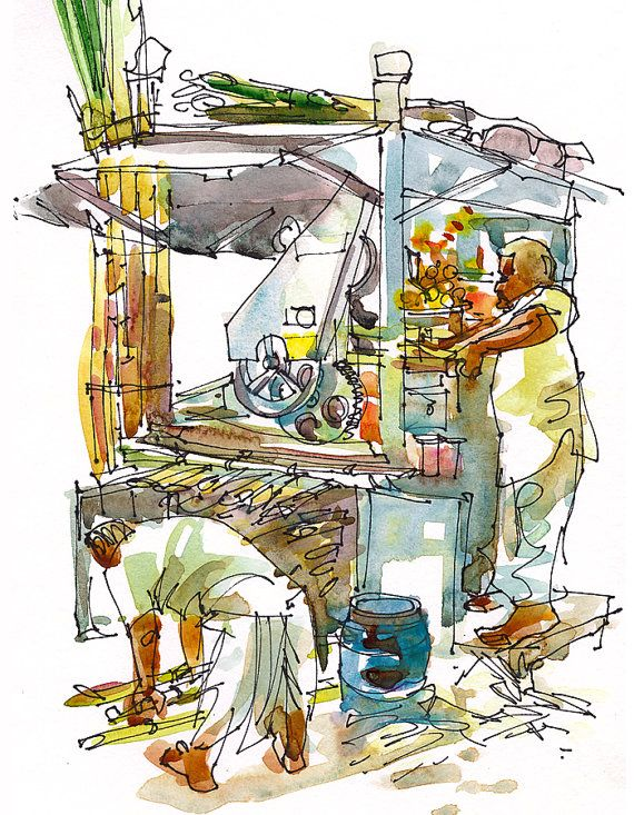 Ganna juice fresh sugarcane juice from a roadside stall india watercolor sketch