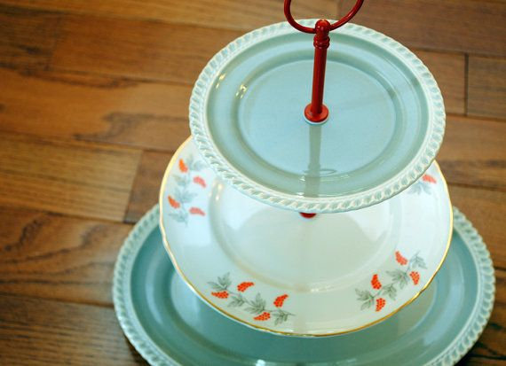 Orange and Grey 3 Tier Cake Stand with Oval Platter Gray, orange, wedding 3 Tier Cake Stand or Cupcake Stand by The Cake Stand Lady http://www.cakestandlady.com #cakestand #cupcake stand #cupcakestand #vintage #etsy #desserttable #desserttable #wedding