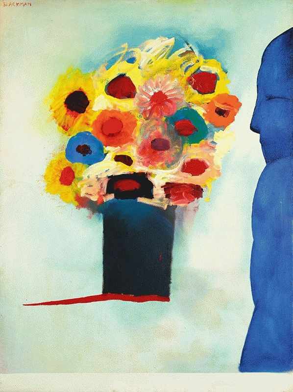 Charles Blackman ~ Figure and Flowers, c.1967