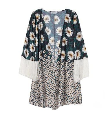 Daisies print satin kimono