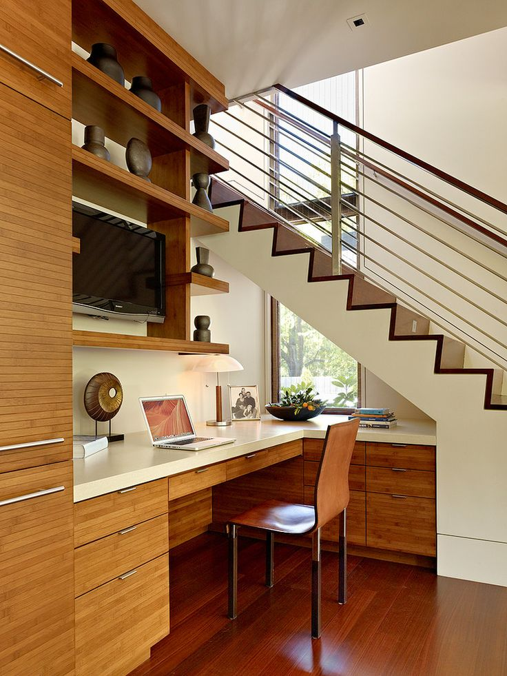 Chic office home office contemporary with window desk under stairs desk under stairs