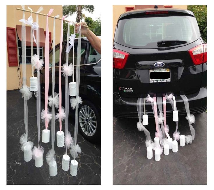 Best 25 just married car ideas on pinterest wedding getaway car just married car dcor using painted tin cans tulleribbon and a wooden dowel junglespirit Image collections