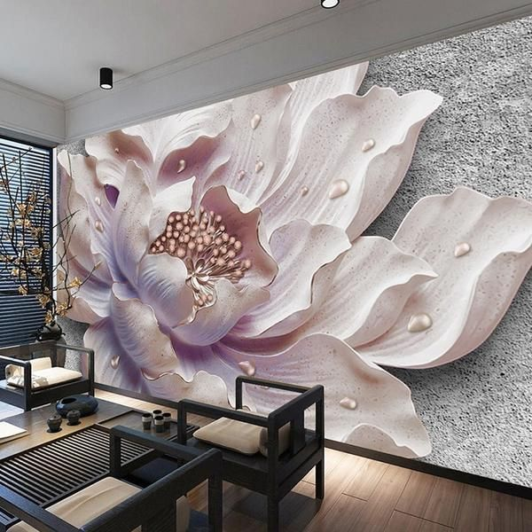 Mural Wallpaper 3D Stereoscopic Relief Peony Flowal Wallpaper