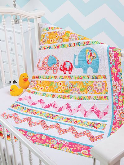 Quilting - Patterns for Children Babies - Applique Quilt Patterns - Elephant Walk