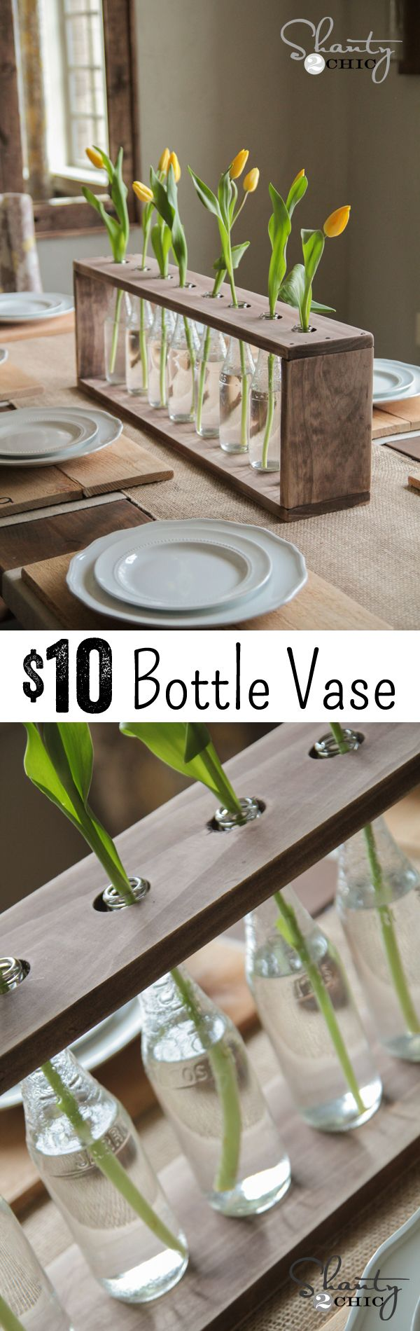 Easy and inexpensive tabletop decor using wood and glass bottles. Such an easy update for the upcoming season. #diy