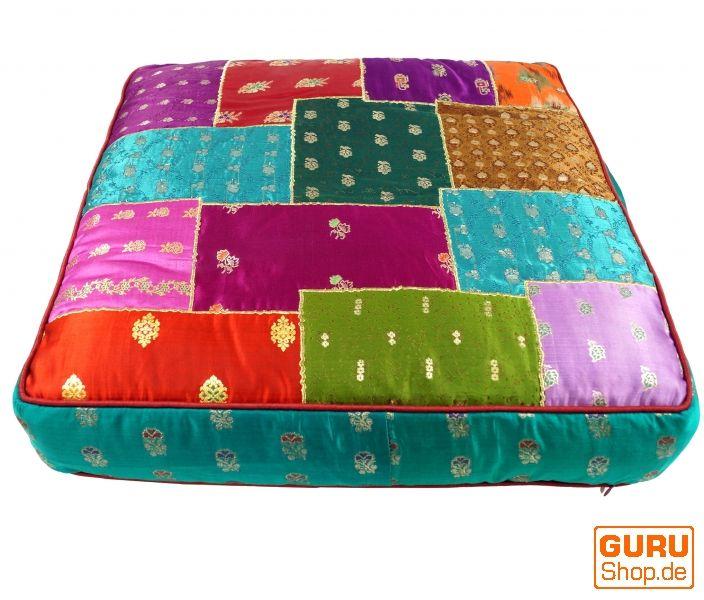 Orientalisches eckiges Patchwork Kissen 50 cm, Sitzkissen, Bodenkissen mit Baumwollfüllung